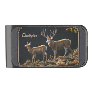 Mule Deer Buck and Doe Gray Custom Gunmetal Finish Money Clip