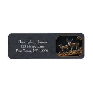 Mule Deer Buck and Doe Gray Custom Label