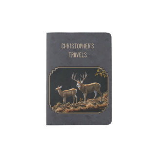 Mule Deer Buck and Doe Gray Custom Passport Holder