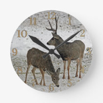 Mule deer buck and doe round clock