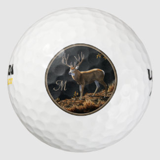 Mule Deer Buck Autumn Trophy Antlers Monogram Golf Balls