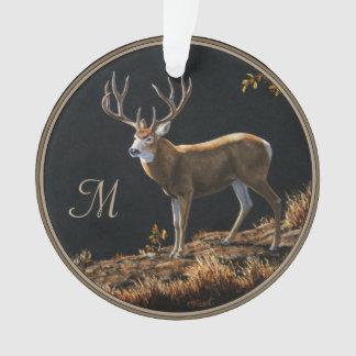 Mule Deer Buck Autumn Trophy Antlers Monogram Ornament
