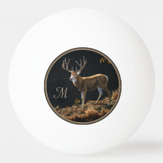 Mule Deer Buck Autumn Trophy Antlers Monogram Ping Pong Ball