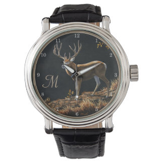 Mule Deer Buck Autumn Trophy Antlers Monogram Watch