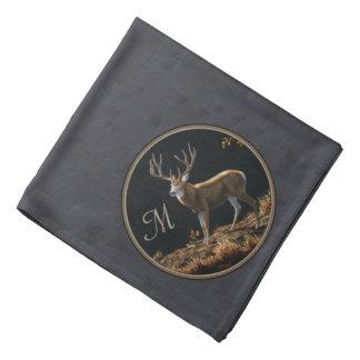 Mule Deer Buck Charcoal Gray Monogram Bandana