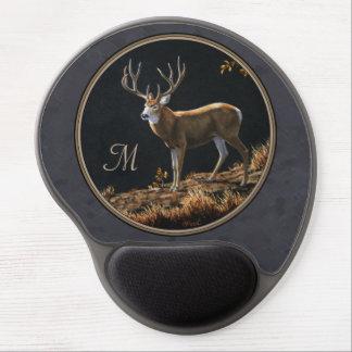 Mule Deer Buck Charcoal Gray Monogram Gel Mouse Pad