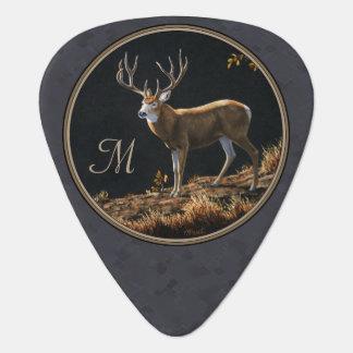 Mule Deer Buck Charcoal Gray Monogram Guitar Pick