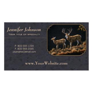 Mule Deer Buck & Doe Custom Gray Double-Sided Standard Business Cards (Pack Of 100)