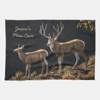 Mule Deer Buck & Doe Hand Towel