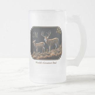 Mule Deer Buck & Doe Monogram Frosted Glass Beer Mug