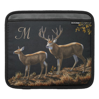 Mule Deer Buck & Doe Monogram Sleeve For iPads