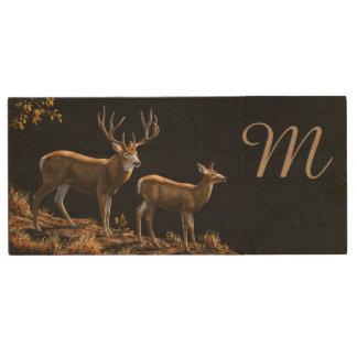 Mule Deer Buck & Doe Monogram Wood USB Flash Drive