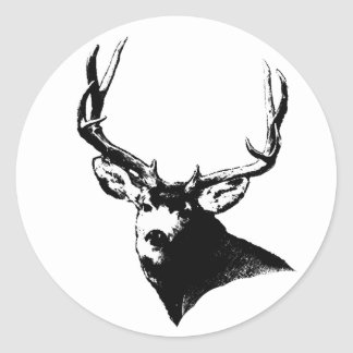 Mule deer buck classic round sticker