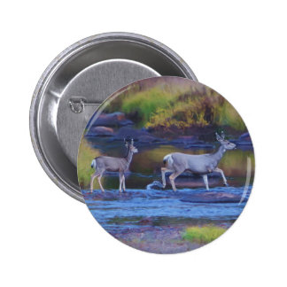 Mule Deer Doe and Fawn Button