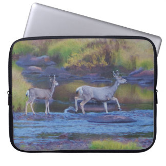 Mule Deer Doe and Fawn Computer Sleeve