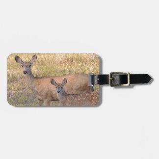 Mule Deer Doe and Fawn Luggage Tag