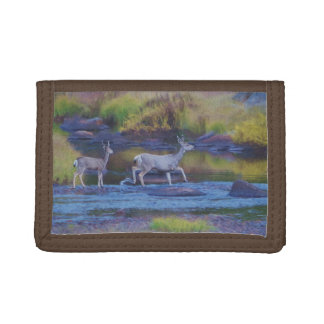 Mule Deer Doe and Fawn Trifold Wallets