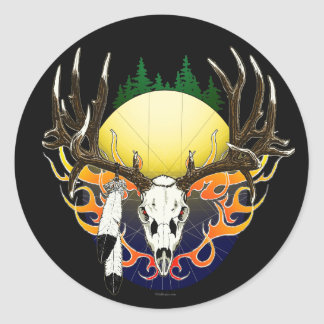 mule deer flames classic round sticker