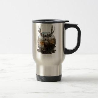 mule deer oil painting in crest travel mug