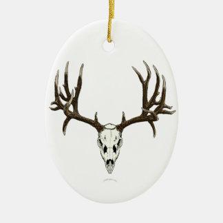 Mule deer skull ceramic ornament