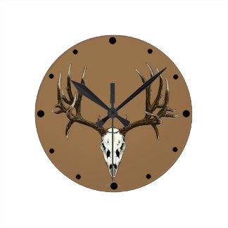 Mule deer skull round wall clocks