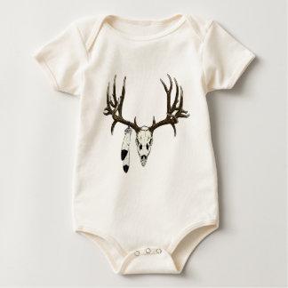Mule deer skull eagle feather baby bodysuit