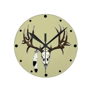 Mule deer skull eagle feather round clock