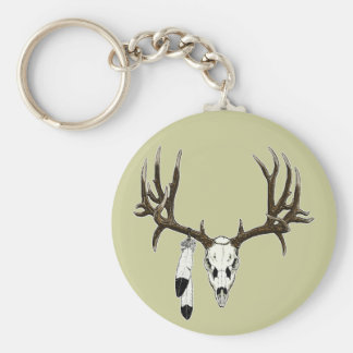 Mule deer skull eagle feather basic round button keychain