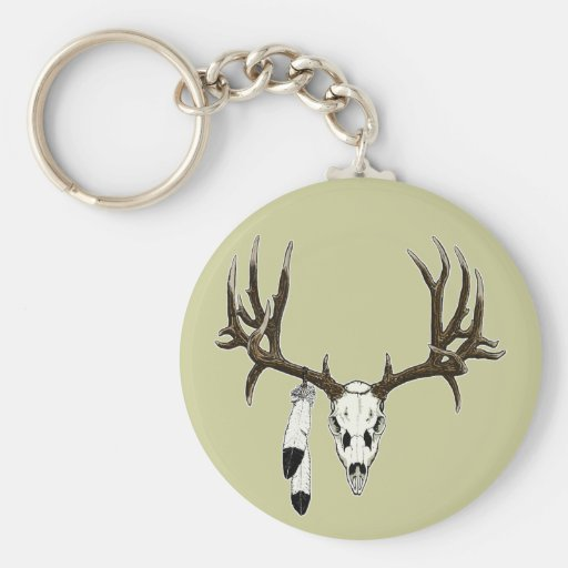 Mule deer skull eagle feather key chain