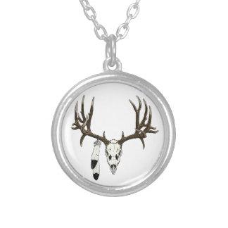 Mule deer skull eagle feather necklace