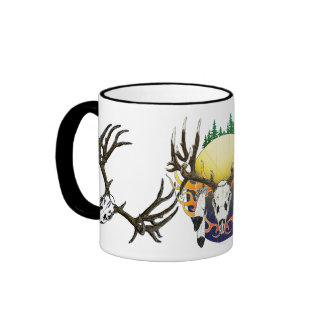 mule deer skull mugs