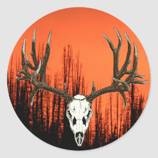 Mule Deer skull Round Sticker