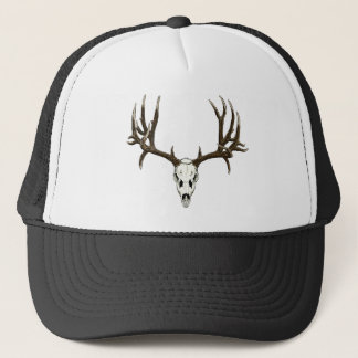 Mule deer skull trucker hat