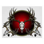 mule deer skulls print