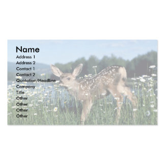 Mule Deer-young fawn in green field of white daisi Business Card Templates