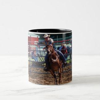 mule in pole bending class Two-Tone coffee mug