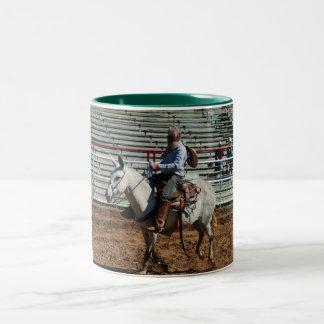 mule pole bending class Two-Tone coffee mug
