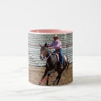 mule pole bending Two-Tone coffee mug