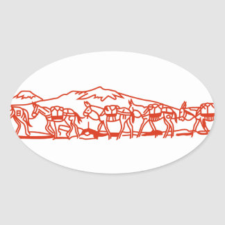 Mule Train Oval Sticker
