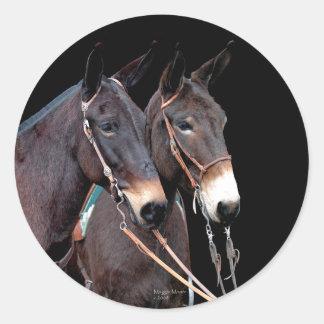 Mule Twosome Classic Round Sticker