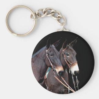 Mule Twosome Basic Round Button Keychain