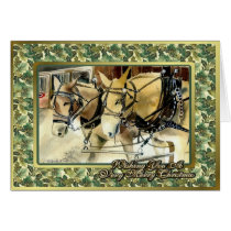 Mules In Harness Blank Christmas Card