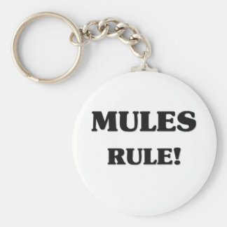 Mules Rule Basic Round Button Keychain