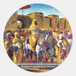 Muley Abder Rahman rodeado por sus escoltas Etiqueta Redonda
