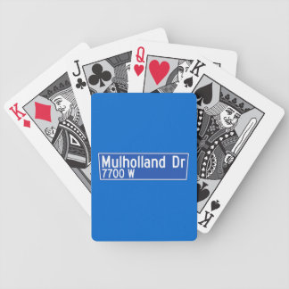 Mulholland Drive, Los Angeles, CA Street Sign Bicycle Poker Deck