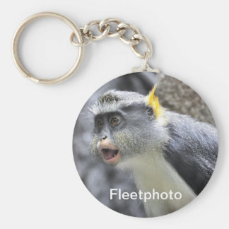 Muli-colored Wolf Monkey Basic Round Button Keychain