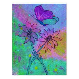Mulit Colored Flowers and Butterfly Postcard