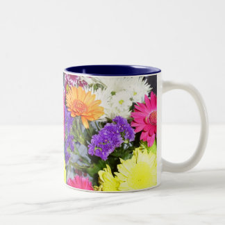 Mulit-coloured flowers mug. Two-Tone coffee mug