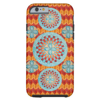 Mulit Turquoise Flower2 with Chevrons Tough iPhone 6 Case