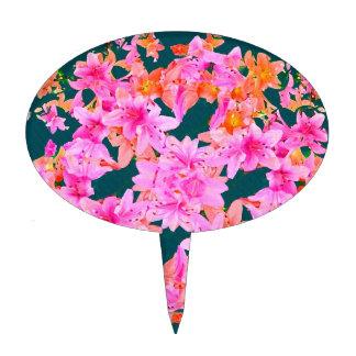 Mulitcolored Floral Pattern Cake Toppers